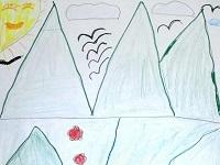 Гірський пейзаж із ялинкою