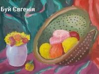 Натюрморт із фруктами і букетом
