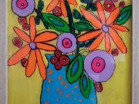Квіти мамі на склі