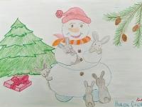 Сніговик із зайченятами