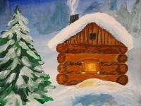 Зимовий пейзаж. Хатинка